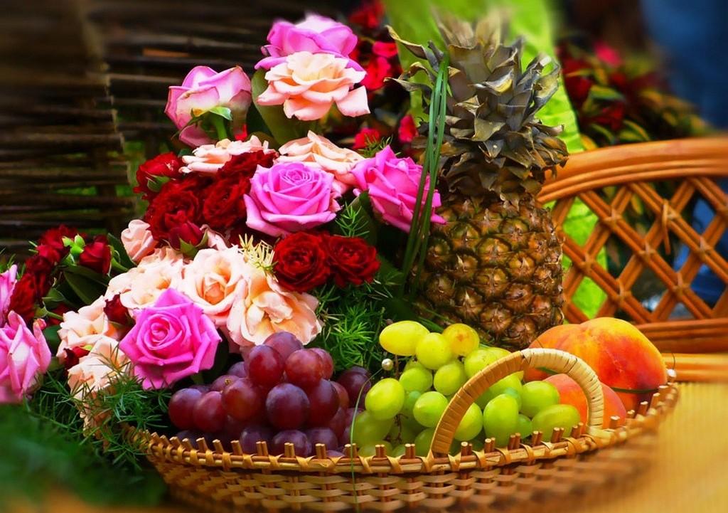 Красивые открытки с фруктами и цветами, днем