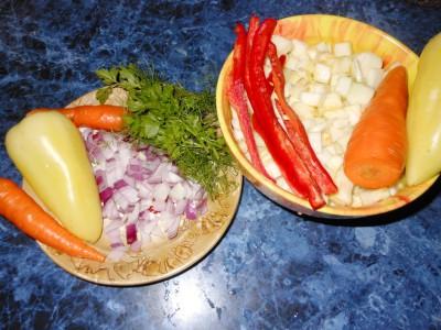 Кабачки или паттинсоны на завтрак - лук морковь кабачки перец.jpg