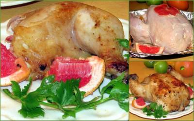 Фаршированная курица с виноградом и апельсинами - Курица с грейпфрутом в духовке-001.jpg