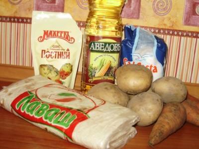 Закрученные овощи в лаваш с белым соусом в духовке - P3280473.JPG