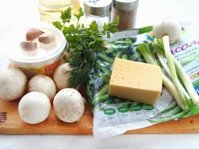 Стручковая фасоль с грибами и сыром - 1.JPG