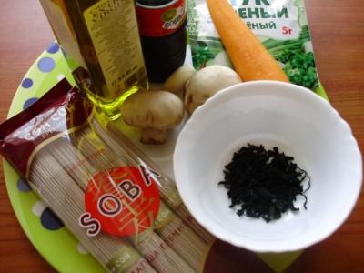 Гречневая лапша с грибами и морской капустой - P1016339.JPG