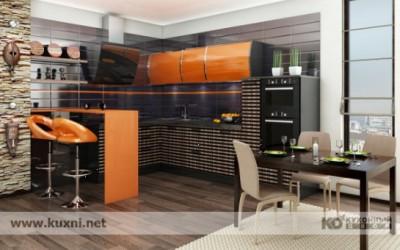 кухня «Бергамо» Страстный южный характер кухни «Бергамо» выражен контрастным сочетанием ярко-оранжевого глянца на верхних полках оригинальной округлой формы и необычных полосатых фасадах модулей. Особый шик кухне придает эффект «зебрано», удачно переданный с помощью специальной технологии: МДФ сначала шпонируют, а затем фрезеруют, после чего определенные участки покрывают глянцевой эмалью. - Бергамо.jpg