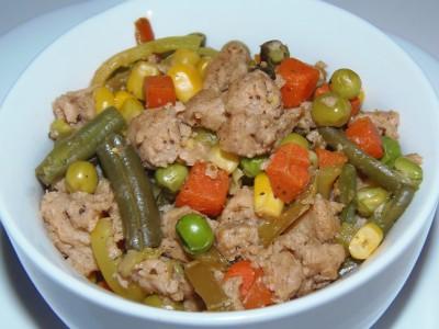 Теплый салат с соевым мясом и овощами - соевые кусочки с овощами.JPG