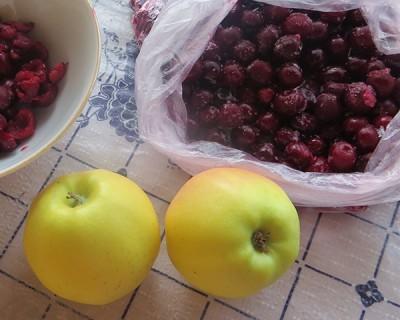 Большой сладкий пирог с вишней и яблоком - Ингредиенты.JPG