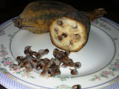 Экзотические овощи и фрукты - банан с косточками.jpg